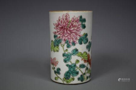 A Small Wucai Porcelain Brush Pot, Hongxian Mark