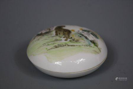 A Painted Porcelain Ink Box, Wanyu Mark Republic of