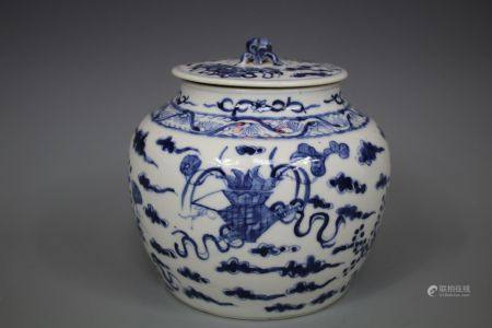A Blue and White Jar With Cover, Qianlong Mark Qing