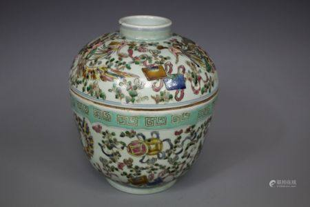 A Wucai Painted Porcelain Jar With Cover, Daoguang Mark