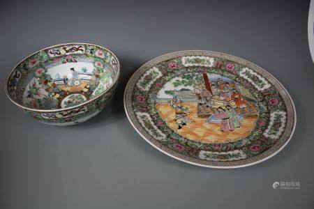A Set of Famille Plate And Bowl