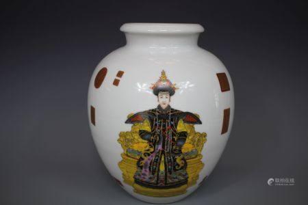 A Painted Porcelain Jar