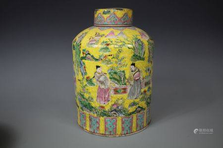 A Yellow-Ground Famille Jar
