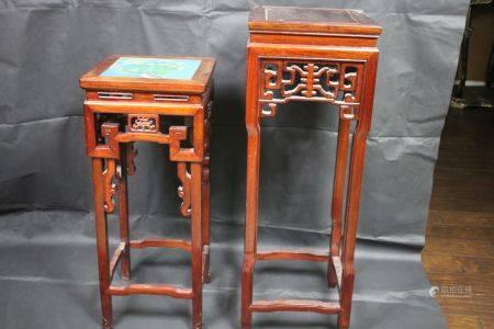 A Set Of Two Hongmu Tall Stools