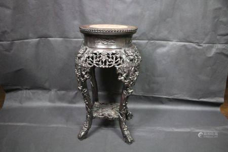 A Marble-Inset Rosewood Stool, Qing Dynasty