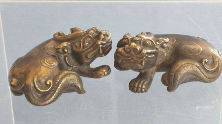 A Pair Of Bronze Paper Presses In the Form of Beast,