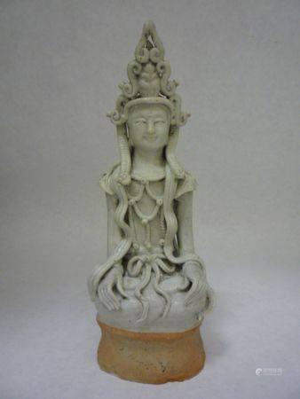 """A """"Yingqing"""" Figure Of Sitting Guanyin, Yuan Style"""