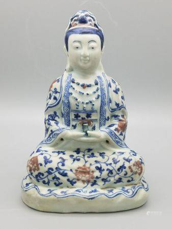 A Blue and White Figure of Guanyin, Ming Style