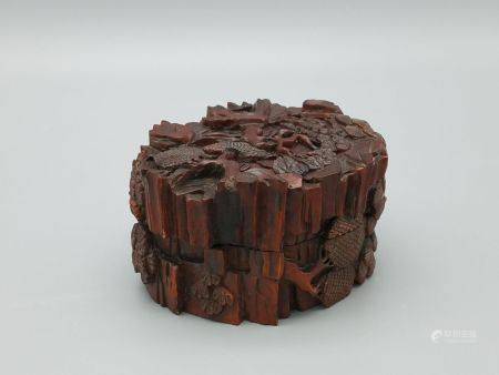 A Huangyang Wood Carved Ink Case, Late Qing / Republic