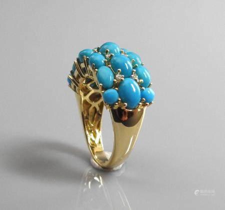 Bague anneau en or jaune, 750 MM, recouverte de turquoises intercalées de diamants, 22 x 10 mm,