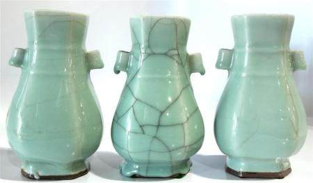 (lot of 3) A group of Chinese celadon vases, each of globula