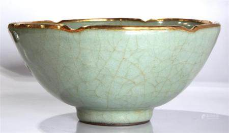 Chinese Guan-type foliate bowl, the bowl with a six lobed ri