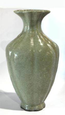 Chinese Guan-type lobed vase, the baluster form indented wit