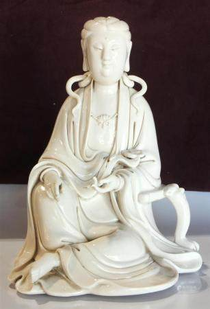 Chinese blanc de chine seated figure of Guanyin, the seated