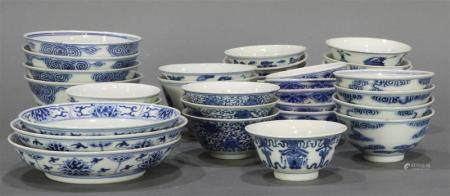 (lot of 36) A group of Chinese blue and white bowls and dish