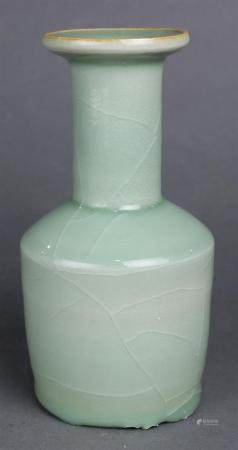 Chinese celadon vase, the rouleau form with a cylindrical ne