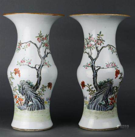 Pair of Chinese Famille Rose and coral enameled porcelain va