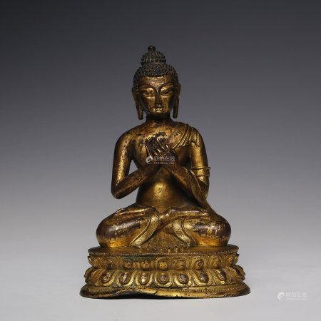 清 铜流金释迦摩尼坐像