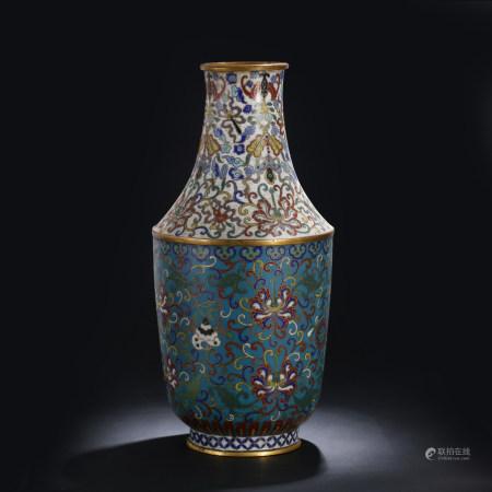 清 掐丝珐琅缠枝莲花瓶
