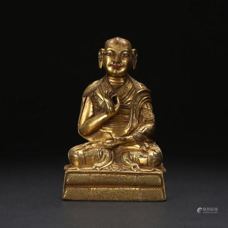 清 铜鎏金罗汉坐像