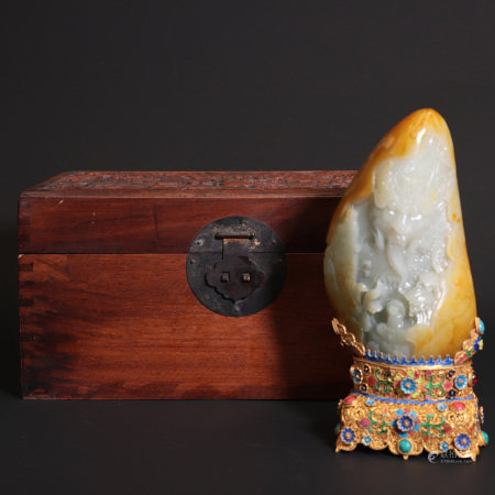 A Chinese Hetian Jade Decoration With A Gilt Silver Jewel-Inlaid Stand