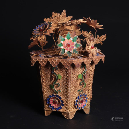 A Chinese Gilt Silver Flower Vase