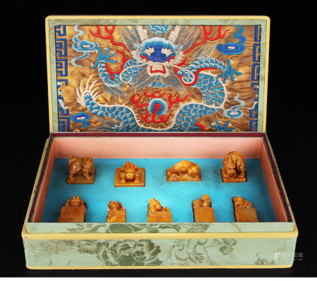 A Box of  Nine Chinese Tianhuang Seals