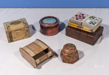 Four pieces of treen and vintage playing cards