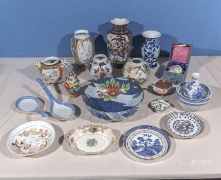 A collection of Chinese style china and pottery