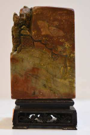 Soapstone Boulder on Square Wood Stand