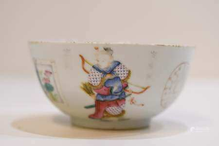 Famille Rose Porcelain Bowl with Lohans