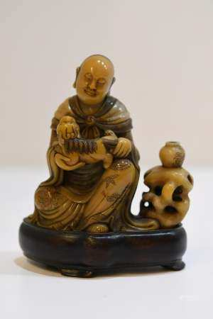 Carved Soapstone Seated Lohan Carved Soapstone Seated