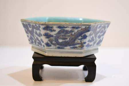 Hexagonal Porcelain Blue & White Bowl