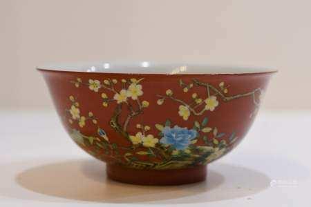Iron Red Glaze famille rose porcelain bowl