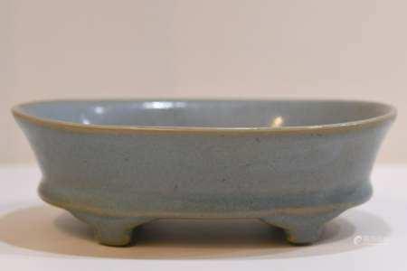 Pale Bule Glaze Footed square bowl