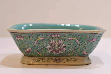 Torquies Glaze Famille rose squite footed bowl