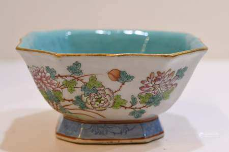 Blue Glaze Famille rose porcelain vase