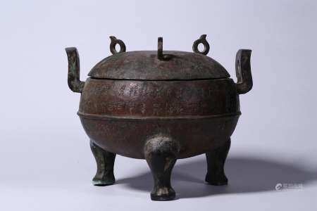 A BRONZE FOOD VESSEL AND COVER.MIMG PERIOD