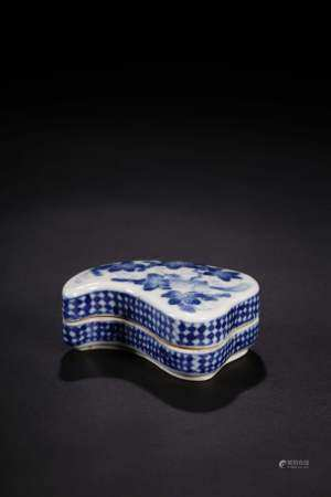 A BLUE AND WHITE BOX AND COVER.QING PERIOD