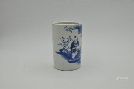 Blue and white pen holder of Qing Dynasty