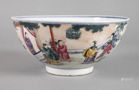 Große Schale Famille Roseum 1900, am Boden Sechs-Zeichen-Guangxu-Marke, zartwandiges, weiß