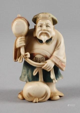 Okimono20. Jh., signiert, Elfenbein beschnitzt, teils fein graviert und farbig gefasst,