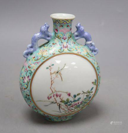 A Chinese enamelled turquoise moonflask, height 16cmCONDITION: Light surface scratches to the enamel