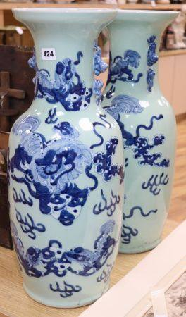 A pair of large Chinese vases depicting dog of Fo, height 61cmCONDITION: No damage but would benefit