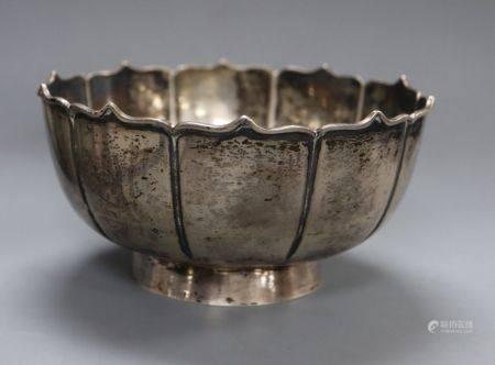 An early 20th century Chinese Export white metal presentation rose bowl by Wang Hing, Hong Kong,