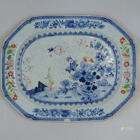 A Chinese blue and white serving dish with polychrome floral decoration, length 37cm