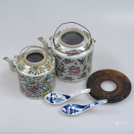 2 Chinese Canton teapots, tallest 14cm, an iron trivet and 2 spoons