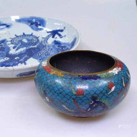 A Chinese cloisonne bowl with dragon decoration, 13.5cm across, and a Chinese porcelain dish with