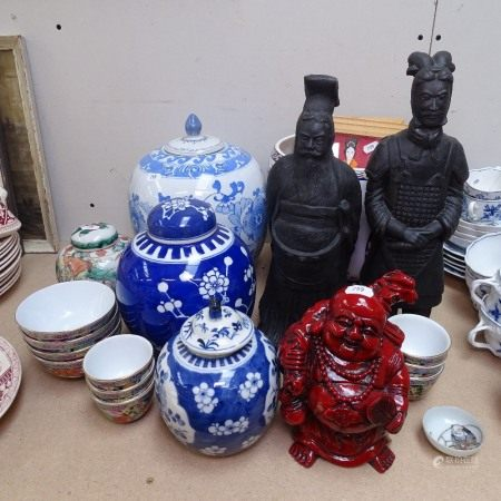 2 Chinese clay figures, tallest 36cm, Buddha, jardiniere, ginger jars etc