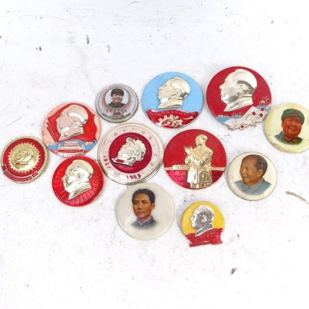 12 various Vintage Chairman Mao badges